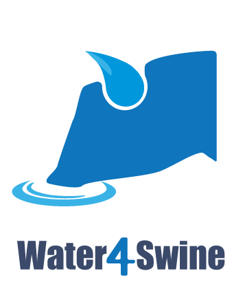 Water 4 swine logo - silhouette of a pig head drinking water